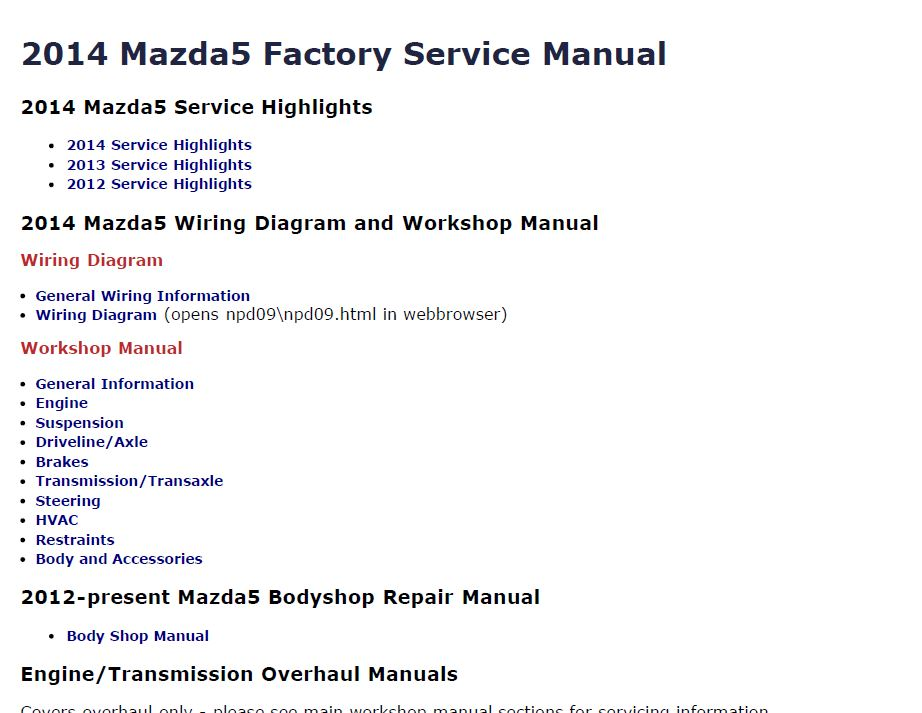 2014 Mazda5 Factory Repair Service Manual Craig's Manualsrhcraigsmanuals: Mazda 5 Radio Service Manual At Elf-jo.com